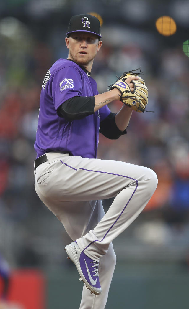 Colorado Rockies pitcher Kyle Freeland works against the San Francisco Giants in the first inning of a baseball game Friday, May 18, 2018, in San Francisco. (AP Photo/Ben Margot)