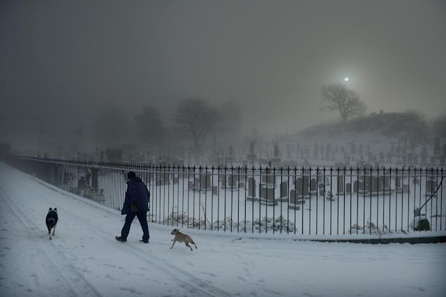 STIRLING, UNITED KINGDOM - DECEMBER 03: A man walks his two dogs past Stirling Castle graveyard on December 3, 2012 in Stirling, Scotland. Snow and sleet has hit many parts of Scotland with heavier falls expected over higher grounds. (Photo by Jeff J Mitchell/Getty Images)