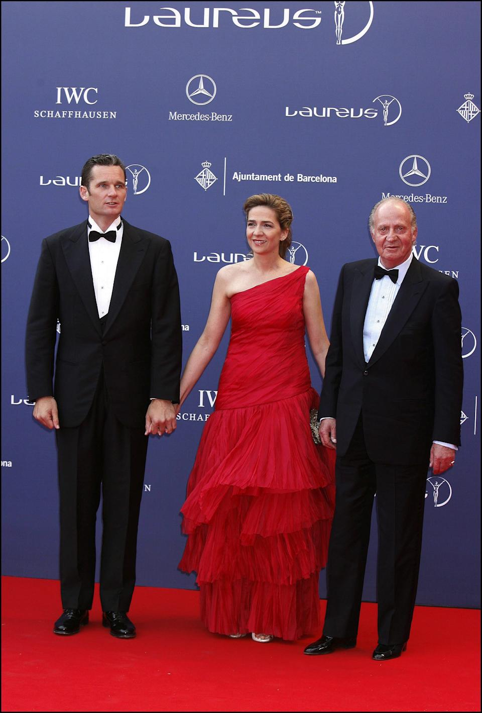 SPAIN - MAY 22:  Laureus World Sport Awards In Barcelona, Spain On May 21, 2006 - King Juan Carlos & daughter Infanta Cristina with husband Inaki Urdangarin.  (Photo by LEBON/Gamma-Rapho via Getty Images)
