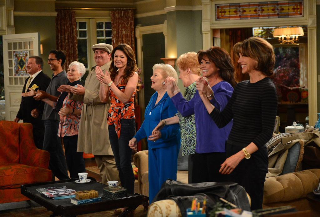 "William Shatner, Danny Pudi, Shirley Jones, Brian Baumgartner, Jane Leeves, Betty White, Georgia Engel, Valerie Bertinelli and Wendie Malick attend TV Land's ""Hot in Cleveland"" Live Show on June 19, 2013 in Studio City, California."