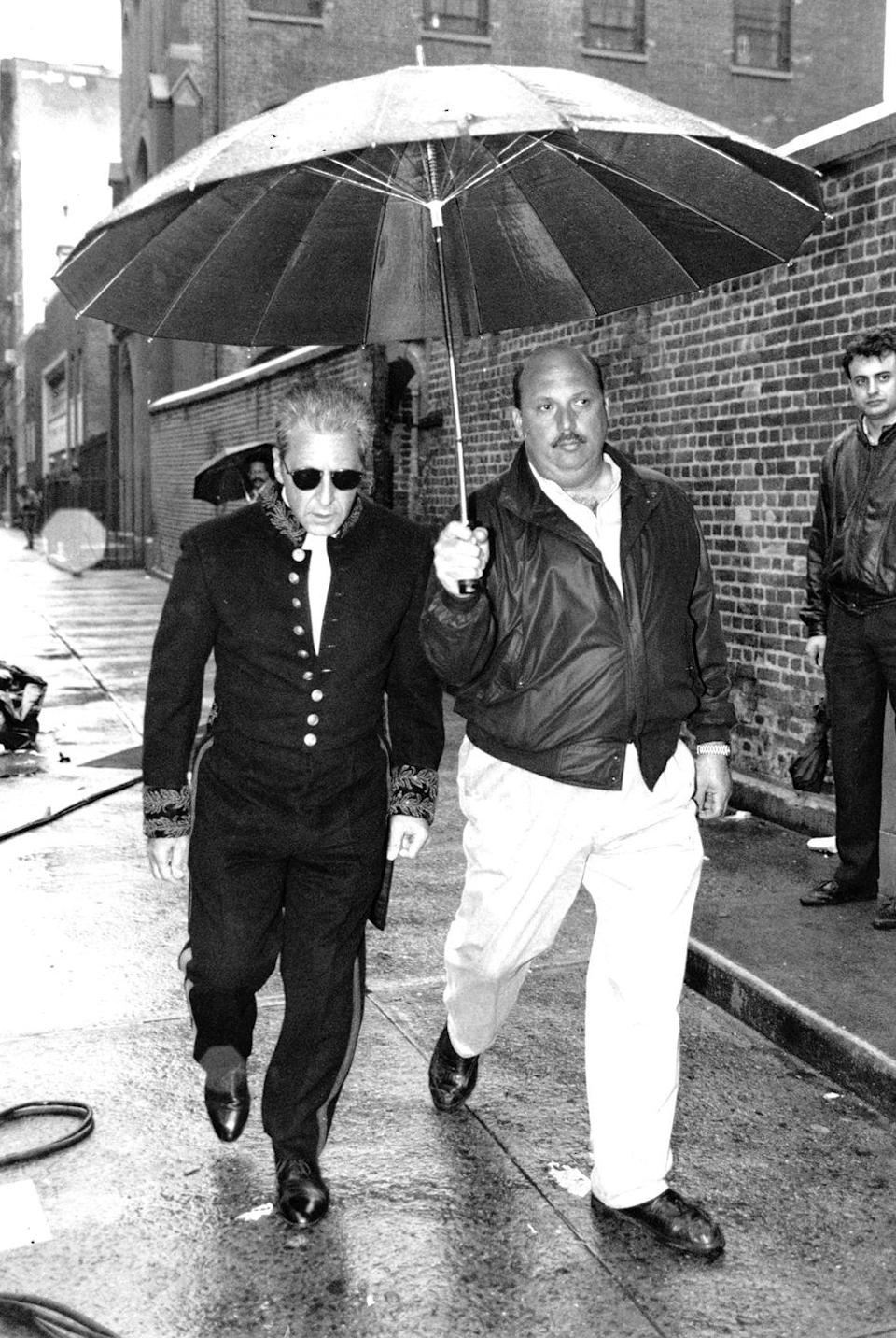 <p>Pacino is seen leaving a makeup trailer in Little Italy, while filming<em> The Godfather: Part III.</em></p>