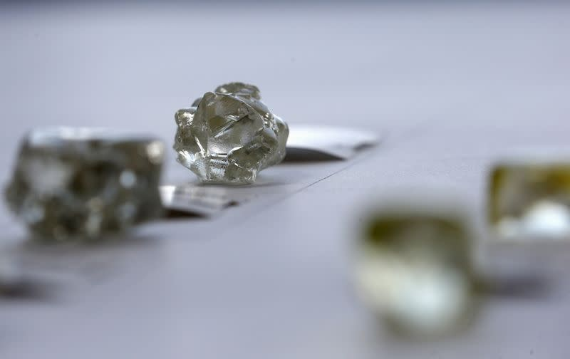 FILE PHOTO: Diamonds are displayed during a visit to the De Beers Global Sightholder Sales (GSS) in the capital Gaborone in Botswana