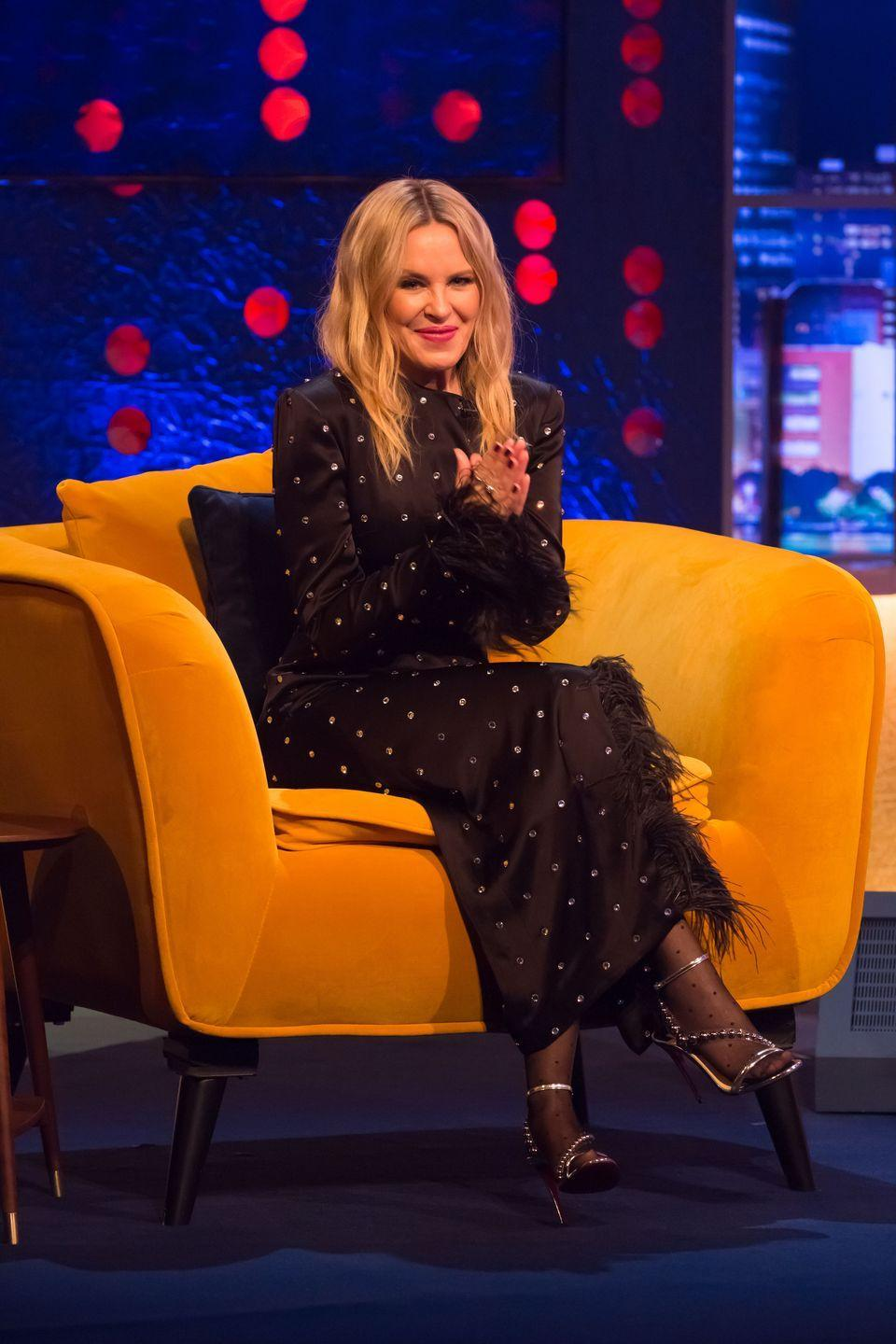 <p><strong>5 December</strong> Kylie Minogue wore a feather-trimmed David Koma dress and strappy sandals for an appearance on The Jonathan Ross Show.</p>