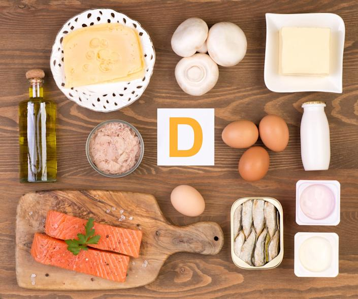 "<span class=""caption"">Food rich in vitamin D.</span> <span class=""attribution""><a class=""link rapid-noclick-resp"" href=""https://www.shutterstock.com/image-photo/vitamin-d-containing-foods-376614841"" rel=""nofollow noopener"" target=""_blank"" data-ylk=""slk:photka/Shutterstock.com"">photka/Shutterstock.com</a></span>"