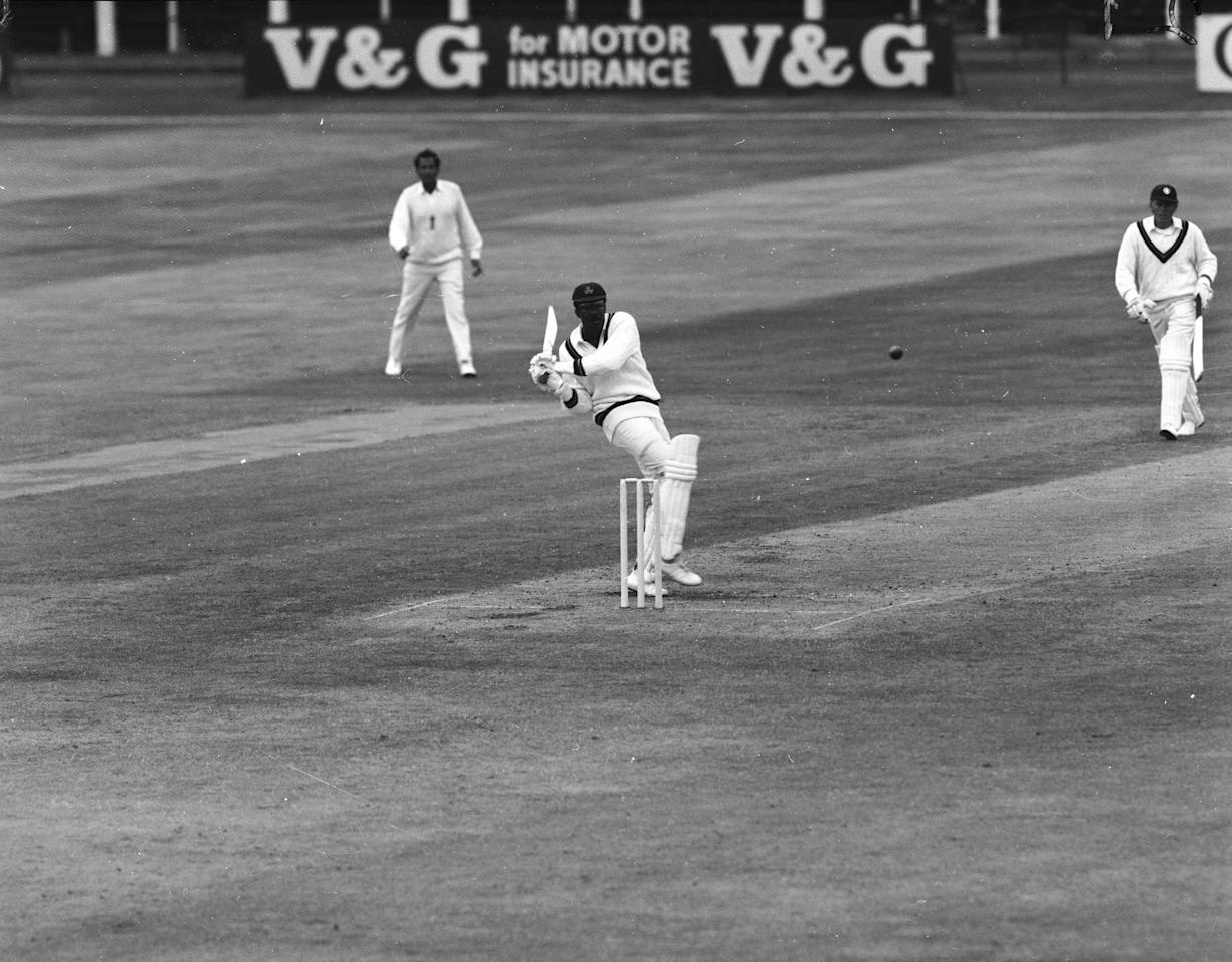 July 1970:  West Indian cricketer Clive Lloyd batting during the England vs Rest of The World Test match at Trent Bridge.  (Photo by Central Press/Getty Images)