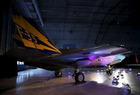 Lockheed Martin F-35 fighter jet is seen in its hanger at Patuxent River Naval Air Station in Maryland