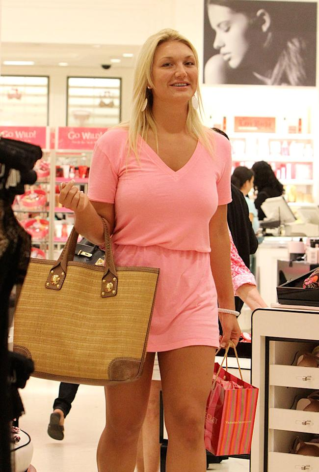 """Brooke Hogan dons a casual pink ensemble and a smile while shopping at Victoria's Secret. Although she just confirmed her breakup from aspiring rapper Stack$, Brooke doesn't appear to be too heartbroken! <a href=""""http://www.splashnewsonline.com/"""" target=""""new"""">Splash News</a> - January 25, 2010"""