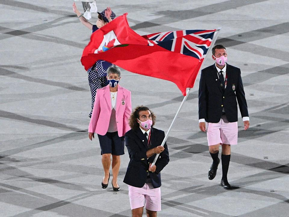 Athletes from Bermuda make their entrance at the Summer Olympics.