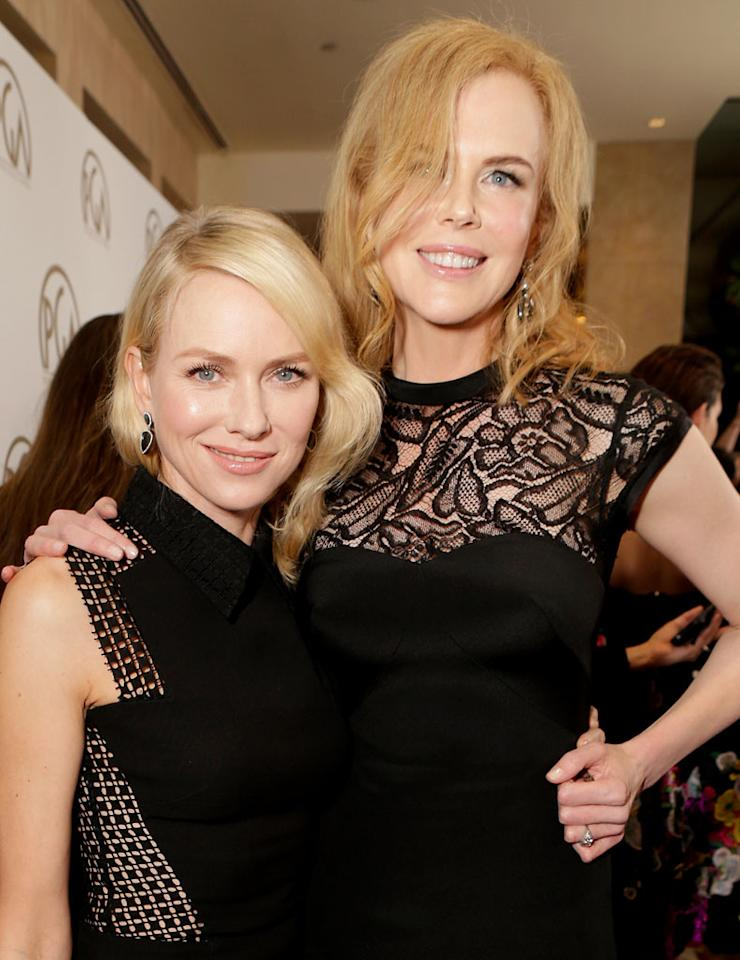 BEVERLY HILLS, CA - JANUARY 26:  Actors Naomi Watts and Nicole Kidman arrive at the 24th Annual Producers Guild Awards held at The Beverly Hilton Hotel on January 26, 2013 in Beverly Hills, California.  (Photo by Jeff Vespa/WireImage)