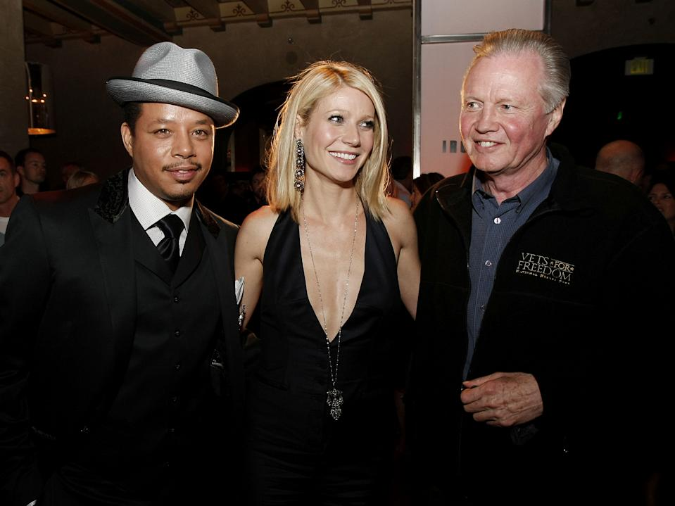 """LOS ANGELES - APRIL 30:  Actors Terrence Howard (L), Gwyneth Paltrow and Jon Voight talk at the afterparty for the premiere of Paramount's """"Iron Man"""" at the Roosevelt Hotel on April 30, 2008 in Los Angeles, California. (Photo by Kevin Winter/Getty Images)"""