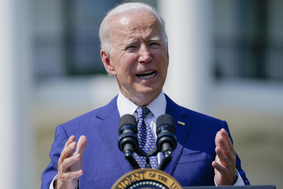 President Joe Biden speaks during an event on clean cars and trucks, on the South Lawn of the White House, Thursday, Aug. 5, 2021, in Washington. (AP Photo/Evan Vucci)