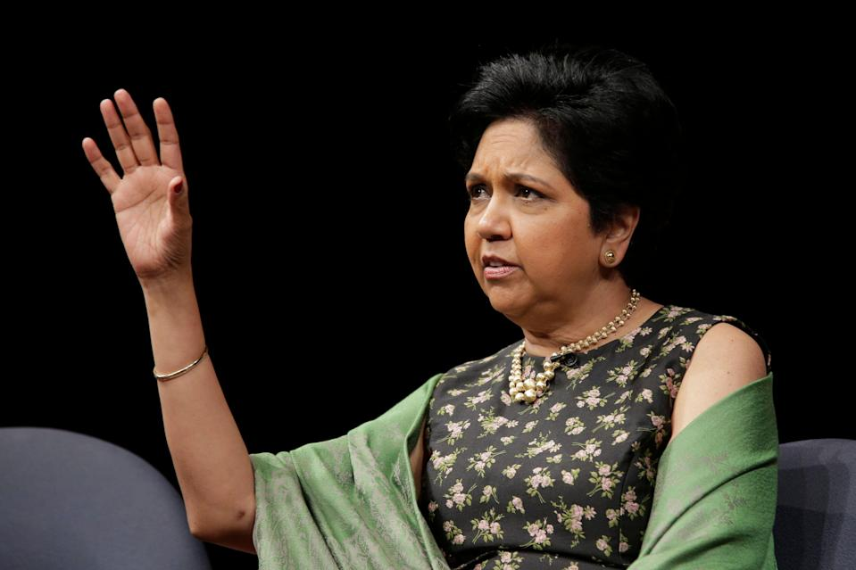 Former PepsiCo CEO Indra Nooyi participates in an event in New York, Tuesday, Oct. 9, 2018. (AP Photo/Seth Wenig)