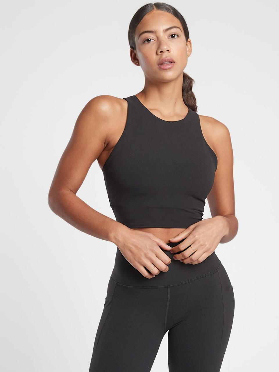 <p>The <span>Athleta Conscious Crop</span> ($59) is the perfect sports-bra/crop-top hybrid. It's supportive and comfortable, and it goes with everything.</p>
