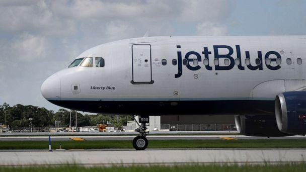 PHOTO: A JetBlue plane prepares to take off from the Fort Lauderdale-Hollywood International Airport on July 16, 2020, in Fort Lauderdale, Fla. (Joe Raedle/Getty Images)