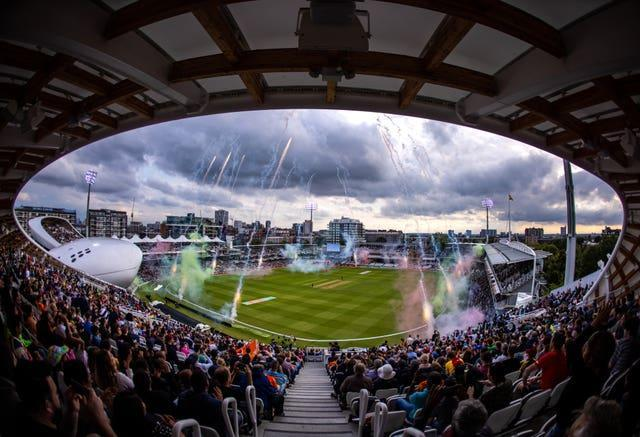 A view of fireworks before the Hundred men's final at Lord's