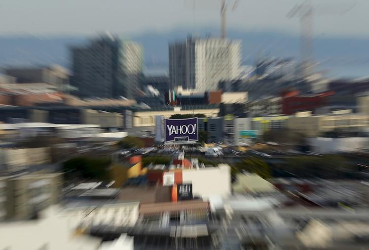 A sign advertising internet company Yahoo is pictured in downtown San Francisco