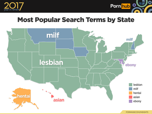 "<p>Curious if you and your neighbors have the same tastes in porn?</p> <p>With millions of viewers flocking to its site each day, Pornhub has no shortage of data to mine for that very answer. The adult content platform has just released their <a href=""https://www.pornhub.com/insights/2017-state-of-the-union"" rel=""nofollow noopener"" target=""_blank"" data-ylk=""slk:2017 State of the Union"" class=""link rapid-noclick-resp"">2017 State of the Union</a>, which breaks down the trends that defined viewership in the US, from the most popular search terms in each state to the nation's average time spent per visit.</p> <p>So, which search terms were biggest in your home state?</p> <div><p>SEE ALSO: <a href=""http://mashable.com/2018/01/09/porn-for-women-searches-2017/"" rel=""nofollow noopener"" target=""_blank"" data-ylk=""slk:Surprise: Women watched more porn in 2017"" class=""link rapid-noclick-resp"">Surprise: Women watched more porn in 2017</a></p></div> <p>In 2017, searches for ""lesbian"" came out on top in 42 states, with ""milf"" in a distant second place.</p>  <div><p>Image: pornhub insights</p></div><p>As for the top gaining searches, ""cheerleader"" reigned supreme. The most unusual addition? The site reported an increase in searches in West Virginia for ""smoking."" Hmm.</p>  <div><p>Image: pornhub insights</p></div><p>Where things really get deep is when they breakdown which terms each state searched more often than other states. The northeast seems to be, um, big into ""giantess."" While ""creampie"" searches dot the middle of the country. And a few very brave states were extra interested in the ""do not cum challenge."" Yikes.</p>  <div><p>Image: pornhub</p></div><p>Finally, Mississippi takes home the award for longest average time spent on site per visit. At 11 minutes and 33 seconds, the southern state's average time lags exactly one minute behind the national average of 10 minutes and 33 seconds. The state with the least time spent per visit? The award goes to Kansas, with an average of 9 minutes and 5 seconds.</p>  <div><p>Image: pornhub insights</p></div><p>Curious to know more about your state's standing? </p> <p>The report's <a href=""https://www.youtube.com/watch?v=HkE83Zu8z58"" rel=""nofollow noopener"" target=""_blank"" data-ylk=""slk:right here"" class=""link rapid-noclick-resp"">right here</a>, though you might considering waiting until you're home to dig too deeply into what you're neighbors are watching.</p> <div> <h2><a href=""http://mashable.com/2017/12/26/2017-weird-dating-apps/"" rel=""nofollow noopener"" target=""_blank"" data-ylk=""slk:WATCH: These are some of the weirdest dating apps of 2017"" class=""link rapid-noclick-resp"">WATCH: These are some of the weirdest dating apps of 2017</a></h2> <div>  </div> </div>"