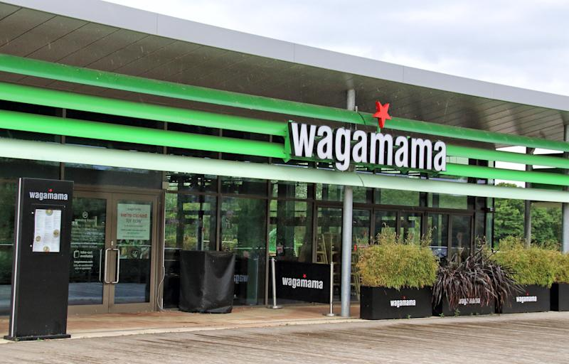 RUSHDEN, UNITED KINGDOM - 2020/07/07: Wagamama logo seen at one of their branches. (Photo by Keith Mayhew/SOPA Images/LightRocket via Getty Images)