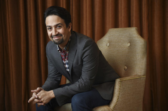 """FILE - Lin-Manuel Miranda, a cast member in the film """"Mary Poppins Returns,"""" poses for a portrait at the Montage Beverly Hills on Nov. 28, 2018, in Beverly Hills, Calif. Miranda turns 41 on Jan. 16. (Photo by Chris Pizzello/Invision/AP, File)"""