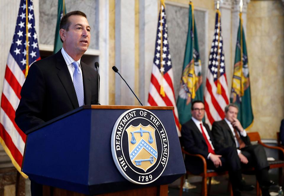 Joseph M. Otting speaks after his swearing in ceremony as Comptroller of the Currency, at the Treasury Department, Monday, Nov. 27, 2017 in Washington. (AP Photo/Alex Brandon)