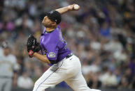 Colorado Rockies relief pitcher Jhoulys Chacin works against the Milwaukee Brewers during the fourth inning of a baseball game Saturday, June 19, 2021, in Denver. (AP Photo/David Zalubowski)