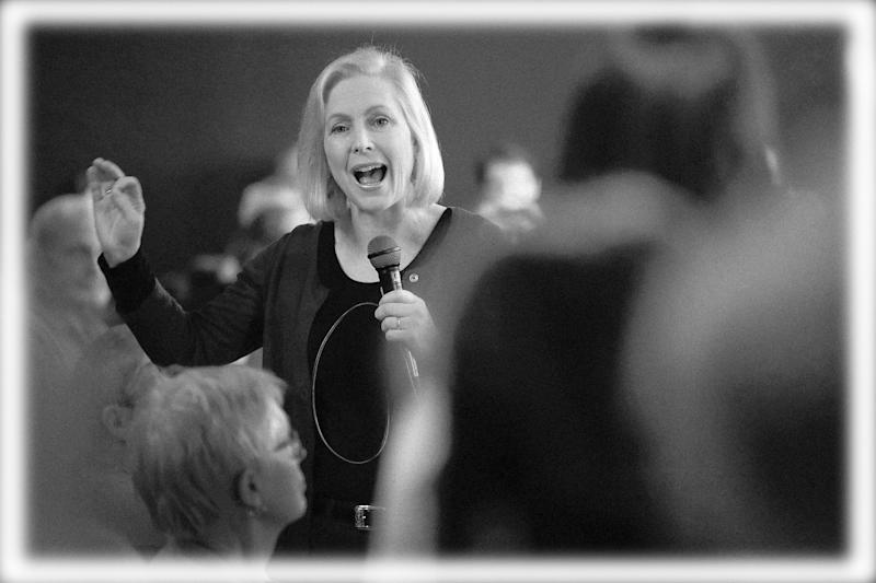 Sen. Kirsten Gillibrand (D-NY) speaks to guests during a campaign stop on March 19, 2019 in Dubuque, Iowa. (Photo: Scott Olson/Getty Images, Digitally enhanced by Yahoo News)