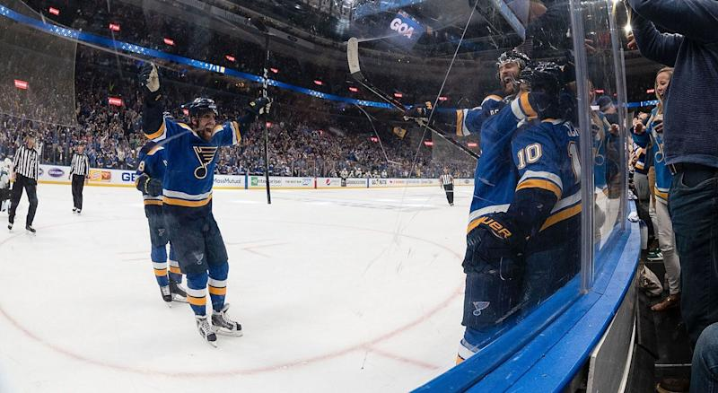 Blues play appropriate music after clinching Stanley Cup berth