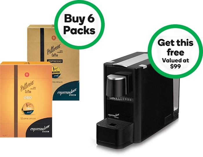 Woolworths' Vittoria coffee machine deal.