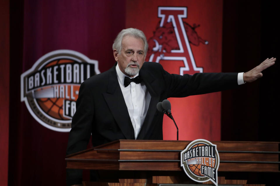 FILE - In this Sept. 6, 2019 file photo, inductee Paul Westphal speaks at the Basketball Hall of Fame enshrinement ceremony in Springfield, Mass. Westphal, the Hall of Fame basketball player has died. The Phoenix Suns confirmed his death Saturday, Jan. 2, 2021. (AP Photo/Elise Amendola, File)