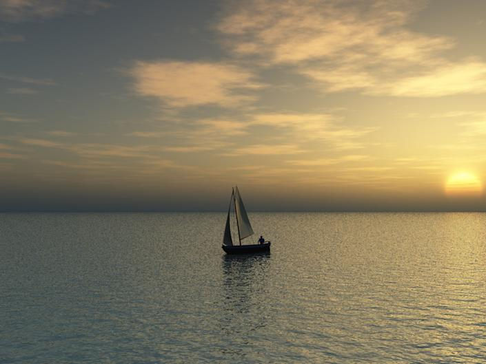 sailboat alone sunset sea ocean solitude lonely old man and the sea