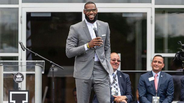 PHOTO: LeBron James addresses the crowd during the opening ceremonies of the I Promise School on July 30, 2018 in Akron, Ohio. (Jason Miller/Getty Images)