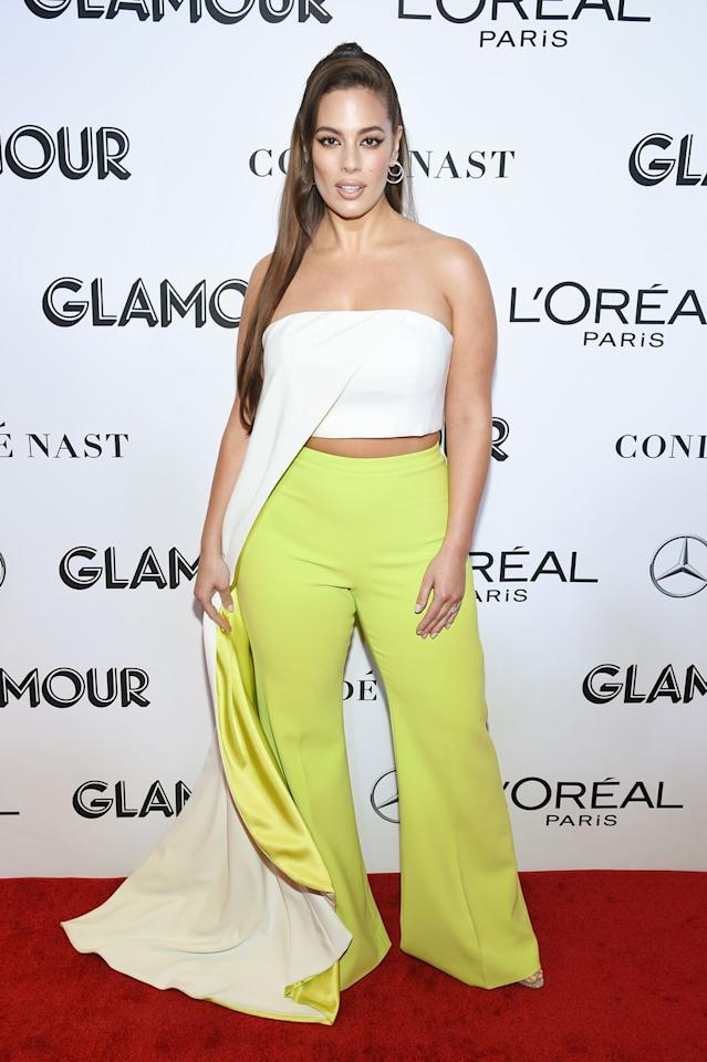 <p>There's nothing that strikes fear into the heart of someone with a sizeable bust, more than the word 'strapless'. However Ashley just proved that style rules are meant to be broken, when she wore this cropped strapless top. Although we're not so sure that we could pull off the lime green trousers like her...</p>