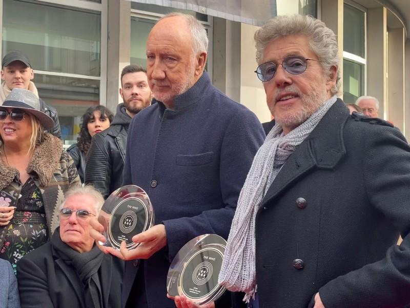 Pete Townshend and Roger Daltrey of The Who attend the unveiling of the founding stone of the new Music Walk of Fame in London