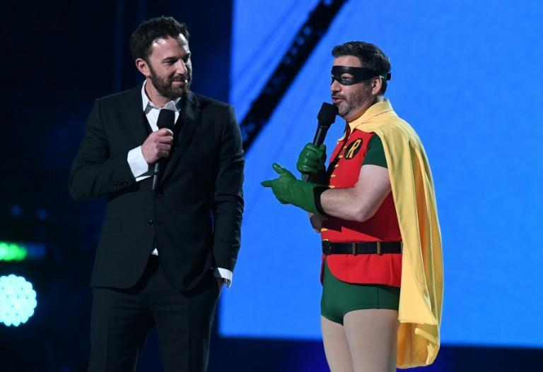 US actor Ben Affleck (L) and US television host Jimmy Kimmel were among the host of stars and celebrities taking part
