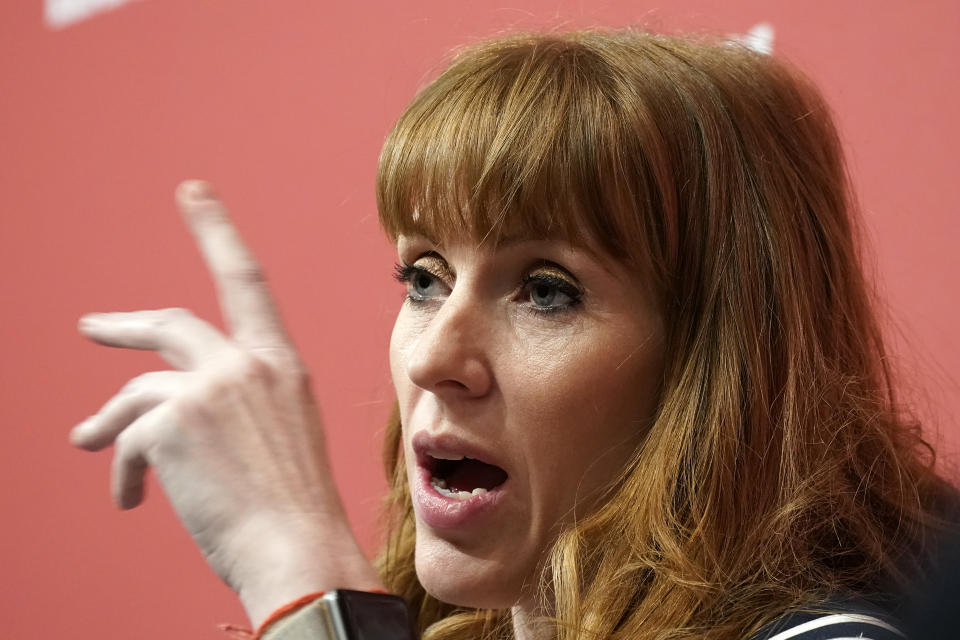 DUDLEY, ENGLAND - MARCH 08: Angela Rayner, Shadow Secretary of State for Education, addresses the audience during the last Labour Party Deputy Leadership hustings at Dudley Town Hall on March 08, 2020 in Dudley, England. Ian Murray, Angela Rayner, Richard Burgon, Dr Rosena Allin-Khan and Dawn Butler are vying to become Labour's deputy leader following the departure of Tom Watson, who stood down in November last year. (Photo by Christopher Furlong/Getty Images)