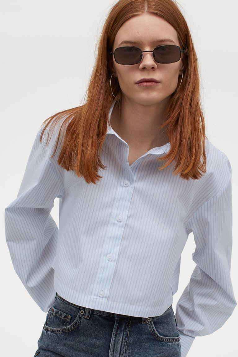 <p>This <span>H&amp;M Cotton Crop Shirt</span> ($13) is perfect for work.</p>