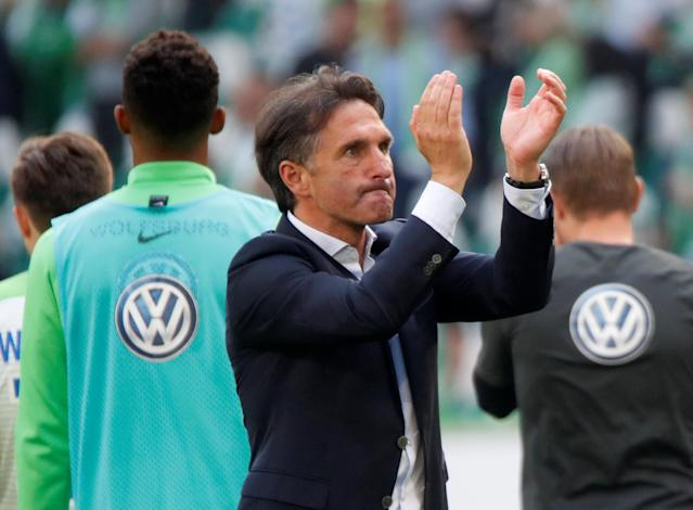 Soccer Football - Bundesliga - VfL Wolfsburg v FC Cologne - Volkswagen Arena, Wolfsburg, Germany - May 12, 2018 Wolfsburg coach Bruno Labbadia celebrates after the match REUTERS/Wolfgang Rattay DFL RULES TO LIMIT THE ONLINE USAGE DURING MATCH TIME TO 15 PICTURES PER GAME. IMAGE SEQUENCES TO SIMULATE VIDEO IS NOT ALLOWED AT ANY TIME. FOR FURTHER QUERIES PLEASE CONTACT DFL DIRECTLY AT + 49 69 650050
