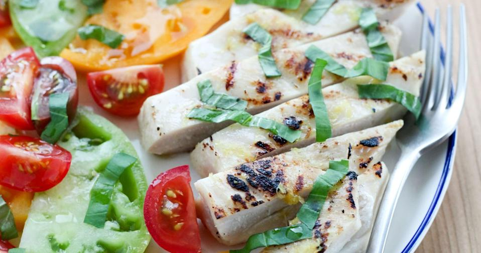 """<p>With a little help from lemon juice, olive oil, and basil, you can transform chicken breasts into one of the tastiest grilled entrees ever. </p> <p><strong>Get the recipe:</strong> <a href=""""https://www.popsugar.com/fitness/How-Cook-Moist-Boneless-Skinless-Chicken-Breast-42225070"""" class=""""link rapid-noclick-resp"""" rel=""""nofollow noopener"""" target=""""_blank"""" data-ylk=""""slk:lemon-basil grilled chicken breasts"""">lemon-basil grilled chicken breasts</a></p>"""
