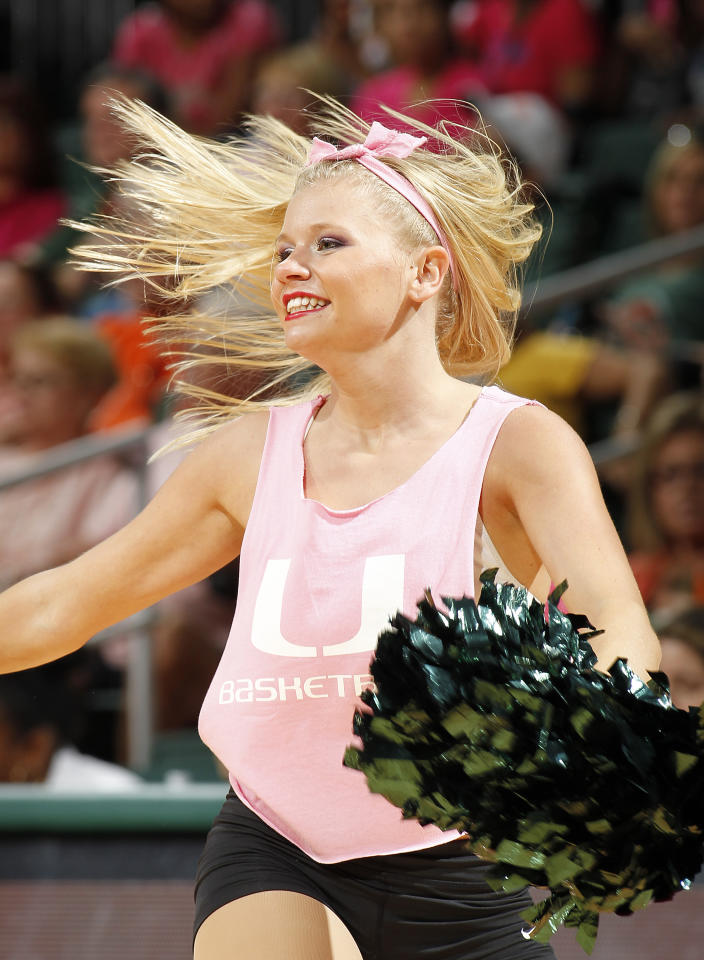 CORAL GABLES, FL - FEBRUARY 10: The Miami Hurricanes cheerleaders perform during a time out against the Florida State Seminoles on February 10, 2013 at the BankUnited Center in Coral Gables, Florida. The Seminoles defeated the Hurricanes 93-78. (Photo by Joel Auerbach/Getty Images)