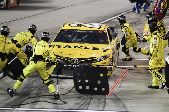 Erik Jones (20) makes a pit stop during the NASCAR Cup Series auto race Wednesday, May 20, 2020, in Darlington, S.C. (AP Photo/Brynn Anderson)