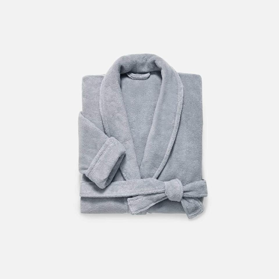 "<h3><a href=""https://www.brooklinen.com/products/super-plush-robe"" rel=""nofollow noopener"" target=""_blank"" data-ylk=""slk:Brooklinen Super-Plush Robe"" class=""link rapid-noclick-resp"">Brooklinen Super-Plush Robe</a></h3> <br>Crafted with a piped collar, cuffed sleeves, and deep pockets — out of the same long-staple Turkish cotton as the brand's bestselling towels — this ""Super-Plush"" robe will cloak her in a luxurious 380-GSM weight.<br><br>Reviews on it range from a simple, ""Best robe ever,"" to an extreme, ""Do not get this if you have a job/lifestyle where you need to put on real clothes. You will never want to get out of this. It is so soft. So warm. So comfy! I have taken up showering 2x plus daily just so I have an excuse to get into it. I love it."" <br><br><strong>Brooklinen</strong> Super-Plush Robe, $, available at <a href=""https://go.skimresources.com/?id=30283X879131&url=https%3A%2F%2Fwww.brooklinen.com%2Fproducts%2Fsuper-plush-robe%3Fvariant%3D15415412129882"" rel=""nofollow noopener"" target=""_blank"" data-ylk=""slk:Brooklinen"" class=""link rapid-noclick-resp"">Brooklinen</a><br><br><br>"