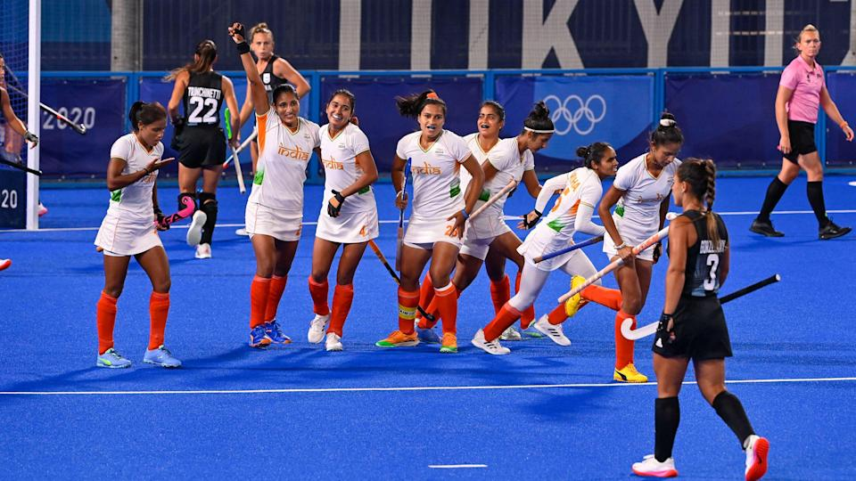 """<div class=""""paragraphs""""><p>India celebrate their first goal against Argentina at the Tokyo Olympics. </p></div>"""