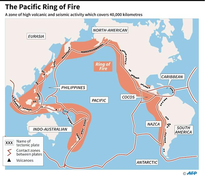 Map showing the the Pacific Ring of Fire, a zone of strong seismic and volcanic activity