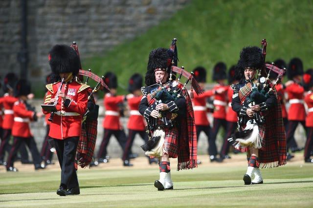 Members of the Massed Band of the Household Division during the ceremony