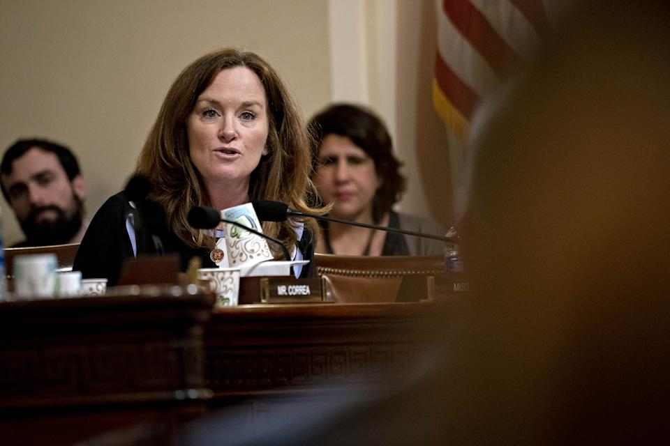 Representative Kathleen Rice, a Democrat from New York, questions witnesses during a House Homeland Security Subcommittee hearing in Washington, D.C., U.S., on Wednesday, March 11, 2020. (Andrew Harrer/Bloomberg via Getty Images)