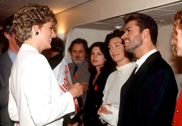 "<p>In a 1997 interview just after Diana's death, the singer talked about how much he was ""blubbering"" at her funeral. ""I was so upset because I did really like Diana. I met her maybe a dozen times and I always had a laugh with her and I really admired her,"" he said. ""I thought she was so great not to be consumed by everything that had happened to her and to keep giving and giving. I thought she was a really great person — the Elvis of compassion."" He also said that he regretted having not been closer to her. After all, she was the only one who made him feel ""<a href=""http://www.mirror.co.uk/3am/celebrity-news/george-michael-bawled-eyes-out-9519917"" rel=""nofollow noopener"" target=""_blank"" data-ylk=""slk:like an ordinary person"" class=""link rapid-noclick-resp"">like an ordinary person</a>."" (Photo: TIM GRAHAM/Getty Images) </p>"