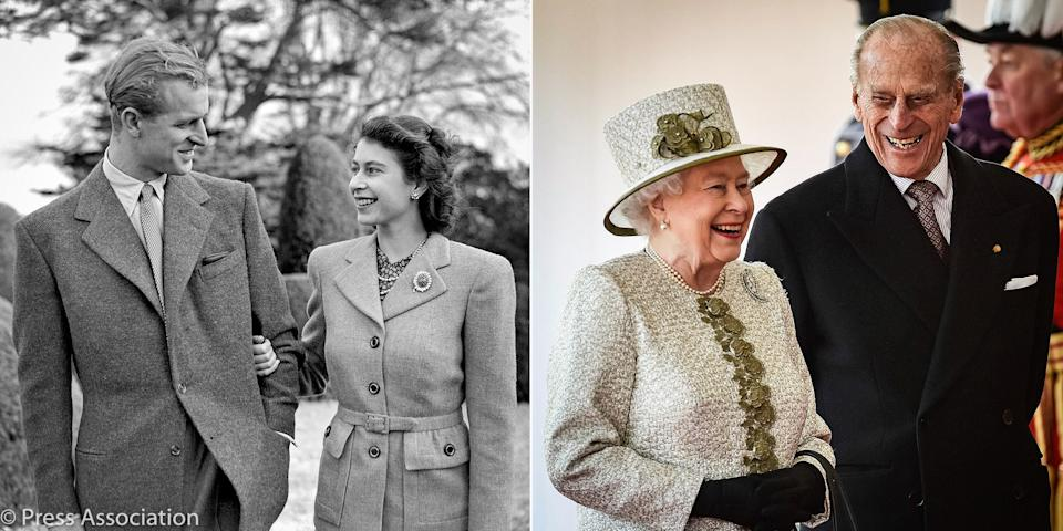 <p>In 2019, after 72 years of marriage, the Duke and Duchess of Cambridge tweeted a sweet photo of the Queen and Prince on their 1947 honeymoon alongside a more recent snap. Photo: Twitter/KensingtonRoyal.</p>