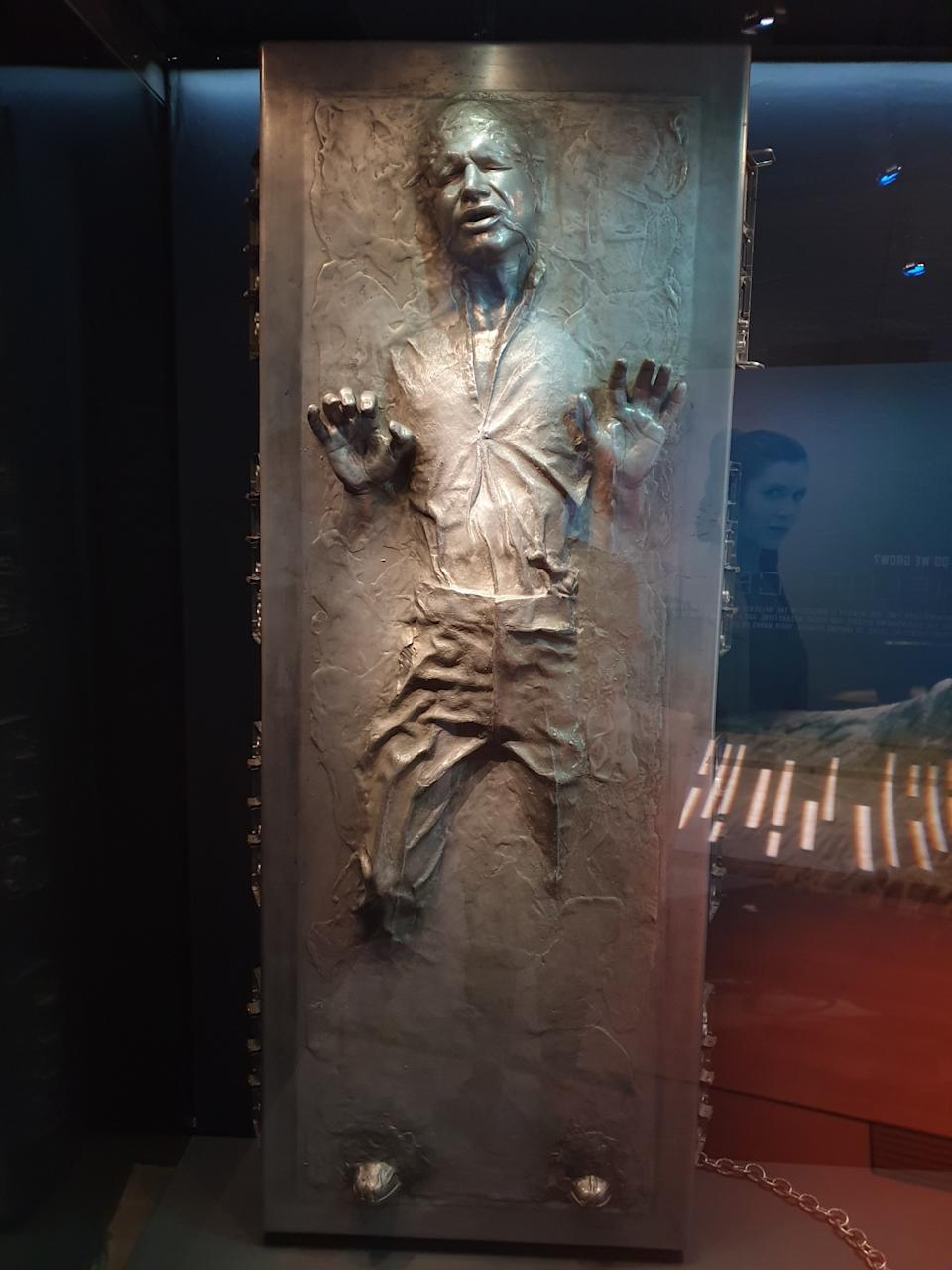 Prop of Han Solo in carbonite from Star Wars: The Empire Strikes Back at the Star Wars Identities exhibition in Singapore at the Artscience Museum. (Photo: Teng Yong Ping)