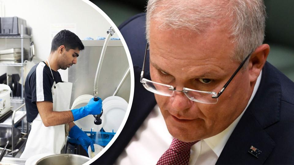 Pictured: Prime Minister Scott Morrison, casual worker in restaurant cleaning dishes. Images: Getty