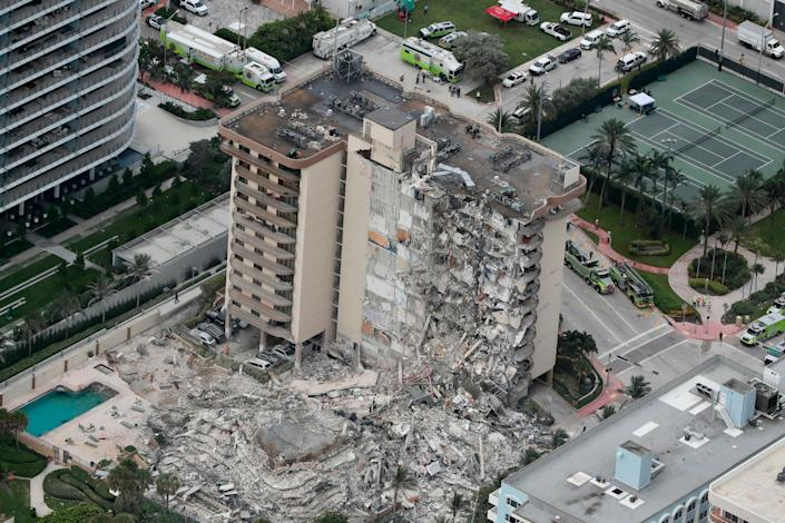 Part of the 12-story oceanfront Champlain Towers South condo collapsed early June 24 in Surfside, Fla.